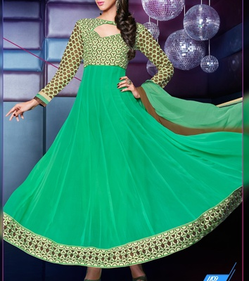 Viva N Diva Green Color pure georgette Anarkali Salwar Suit.