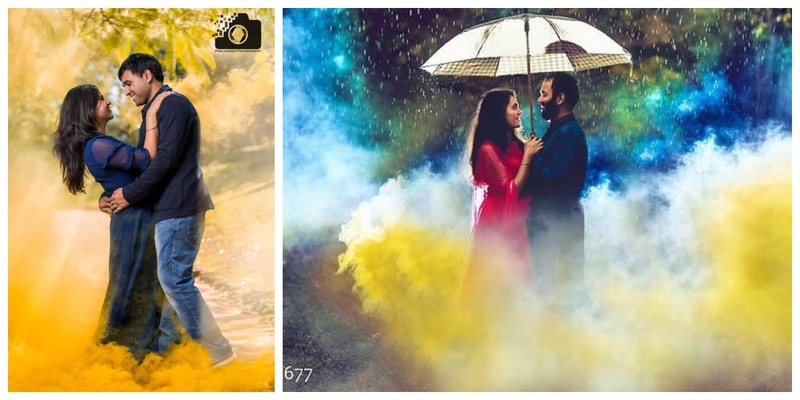 23 candid couple shots with funky colourful smoke bombs!
