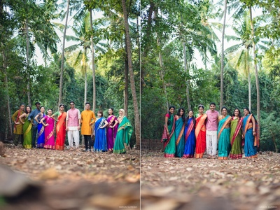 Goan couple with group picture in forest wedding held at Goa