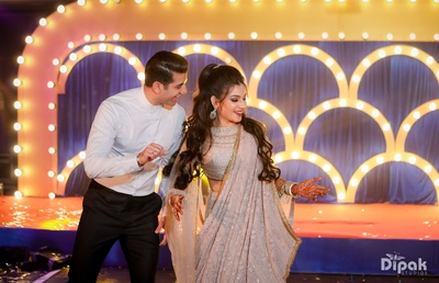 The couple enjoy dancing together at their sangeet!