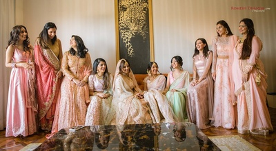 Bride and bridesmaids pose together before the wedding function