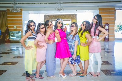 Dressed in vibrant trendy outfits for the pre-wedding functions