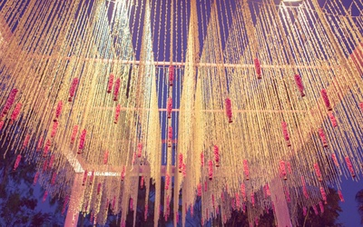 Floral ceiling as part of the decor for the wedding function at Radisson Blu Udaipur