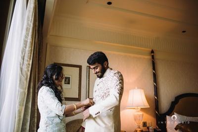Rishabh getting ready for the wedding ceremony held at The Leela, Delhi.