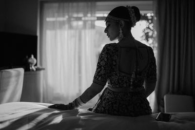 black and white bridal shot