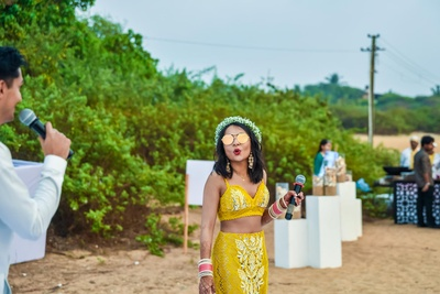 Bride's gorgeous yellow outfit for her pre wedding functions