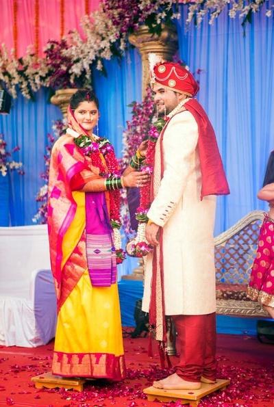 Cherry yellow red Paithani silk saree with gold border