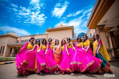 Bride and the bridesmaids in a funky photoshoot