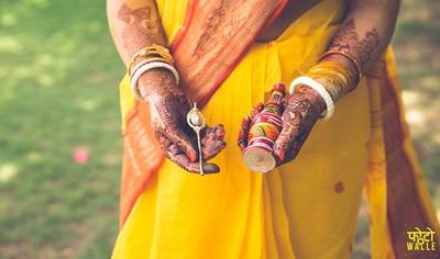 Turmeric yellow saree for Dudhi pooja and Haldi ceremony.