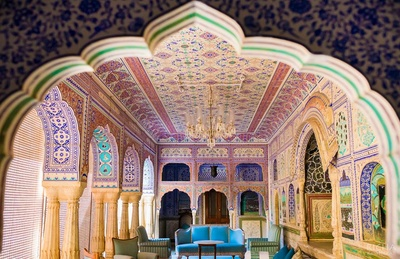 Rajasthani interiors for a palace themed wedding.