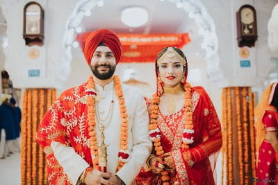 Portrait of the bride and groom post the gurudwara ceremony