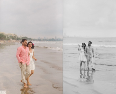 Complementing each other with coordinated outfits for the pre wedding shoot held in Goa.
