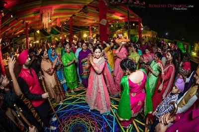Sangeet ceremony punjabi style, females doing gidda!