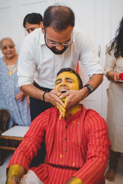 The groom at his haldi ceremony