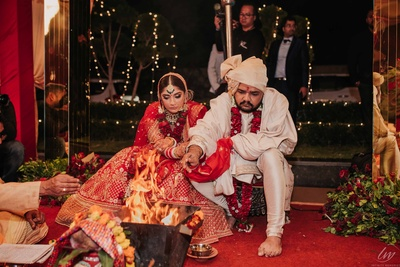 A candid capture of the beautiful couple during their wedding ceremony