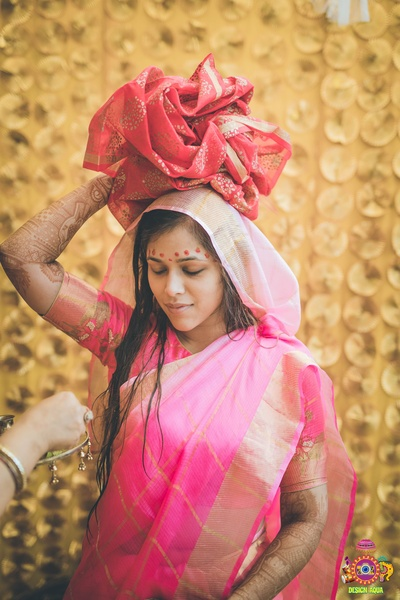 bride at her haldi ceremony