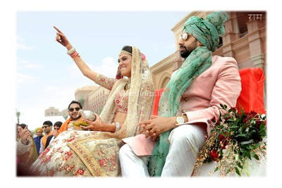 Bride enters her wedding mandap with her cousin Abhishek Bachchan next to her