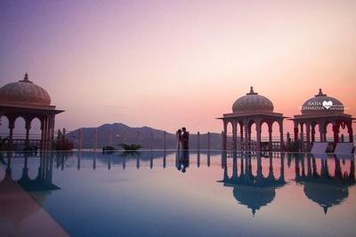 Sunset shoot held at beautiful Chunda palace, Udaipur.