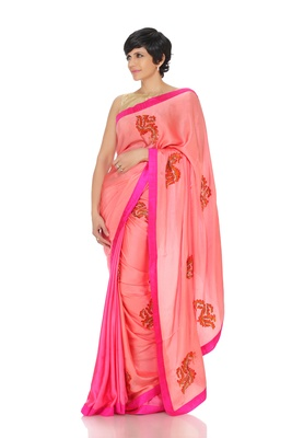 Pink Saree With Hand Embriodered Flowers
