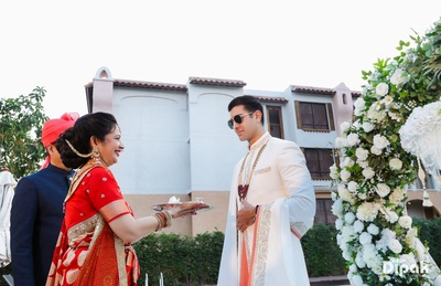 The groom is welcomed by his in-laws
