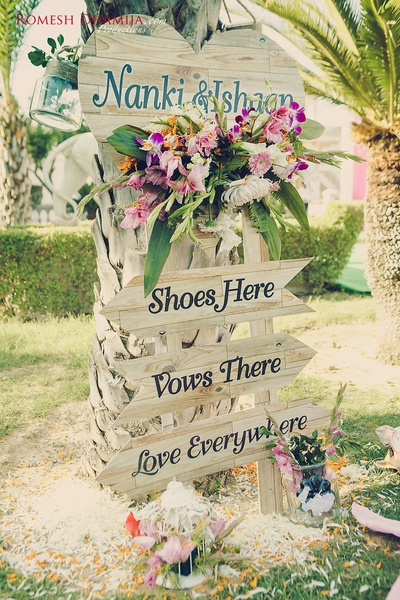 Cute pretty signages at the wedding ceremony held at Shiv vilas palace, Jaipur.