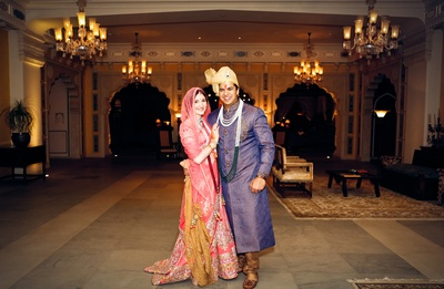 Bride and groom happily married in a royal style at Hotel Fairmont, Jaipur