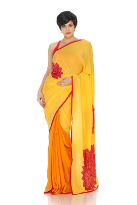 Yellow and Ochre Crepe Saree
