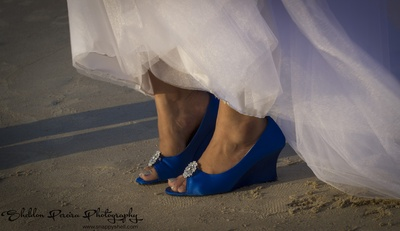 Blue peeptoe wedges to match the wedding theme