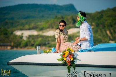 Dressed in beach outfits for their fun-filled beach party held at Krabi