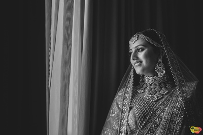 black and white portrait of the beautiful bride