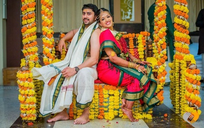 Jhoola laden with marigold flowers for the bride and groom