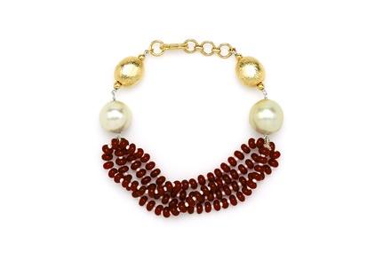 Red Multi String & Pearl Bracelet