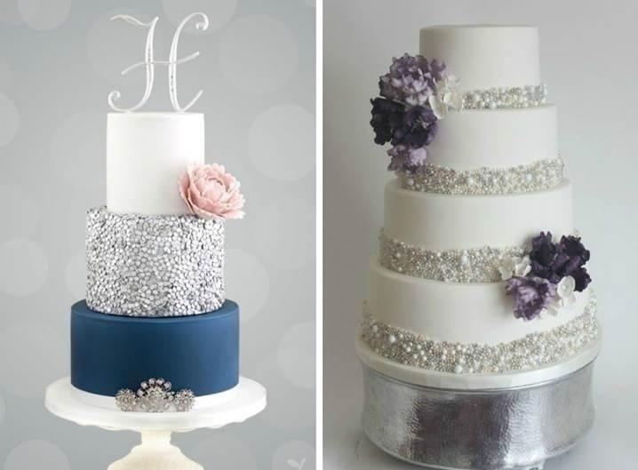GLITTER SILVER WINTER WEDDING CAKES