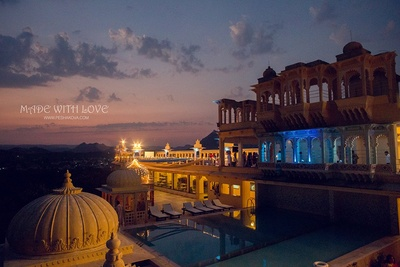 Chunda palace, Udaipur, beautifully decorated for the wedding.