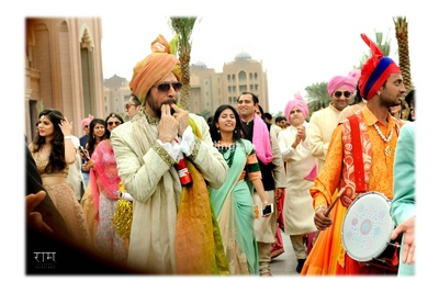 Baraat entering the wedding mandap