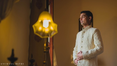Traditional gujarati groom getting ready for his wedding day