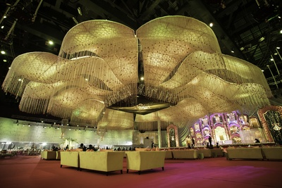 The wedding decor exemplified the term 'grand'!