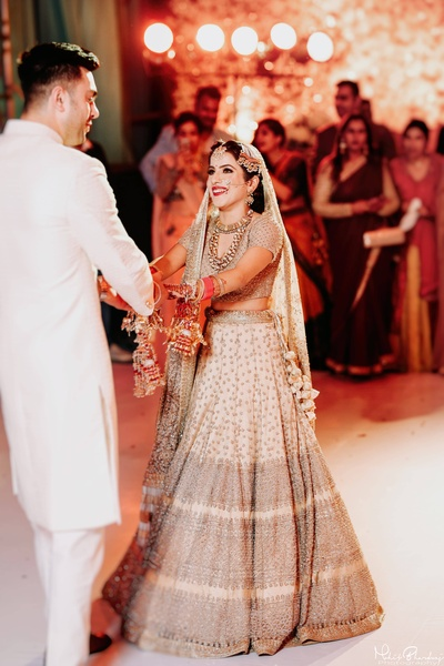 Bride and groom in a cute candid wedding photography