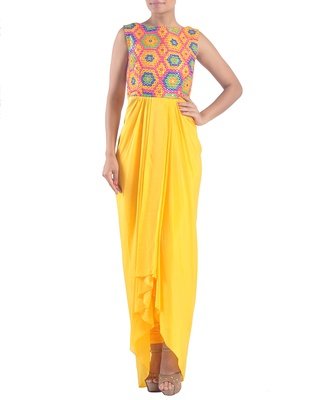 Yellow embroidered dhoti suit