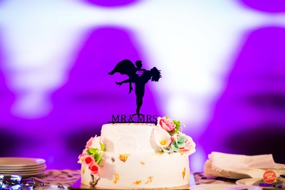 Wedding cake for the bride and groom during their engagement ceremony