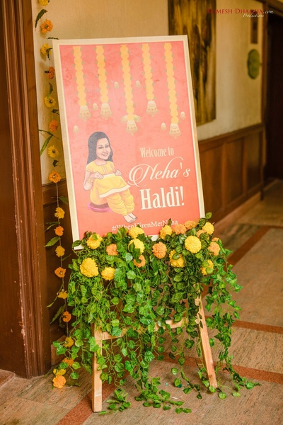 welcoming signage ideas for the haldi ceremony