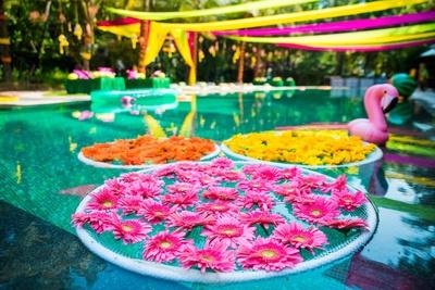 Poolside mehndi function decor at Aashyana Lakhanpal, Goa