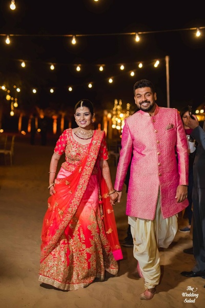 The couple entering their sangeet ceremony