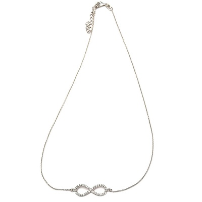 LeCalla Infinity CZ Stone Silver Necklace