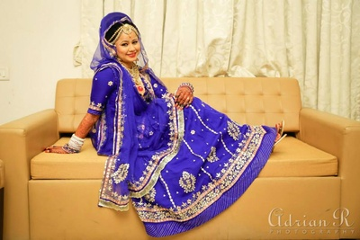 Blue and gold traditional Rajasthani ghagra choli in gota patti embroidery