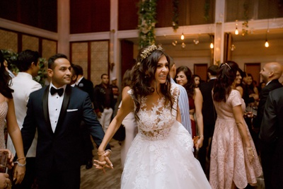 The couple captured while dancing on their reception
