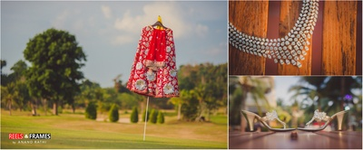 Beautiful red lehenga paired with elegant diamond jewellery and fascinating bridal footwear