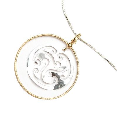 LeCalla Laser Cut Round encased Necklace