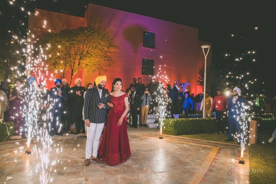 The couple was welcomed in style with fireowrks!