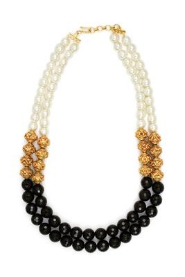 Nizanta Double Row Black Pearl Necklace
